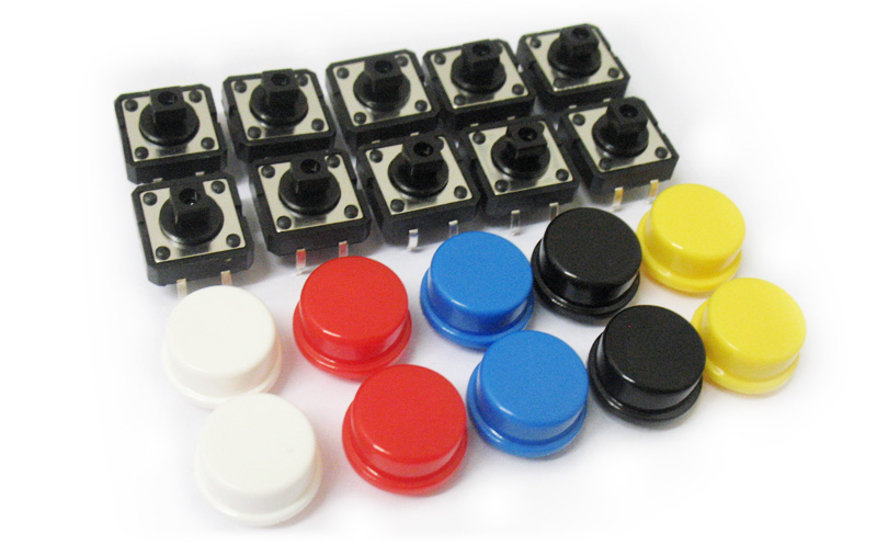 Conjunto com 10 botões tácteis coloridos