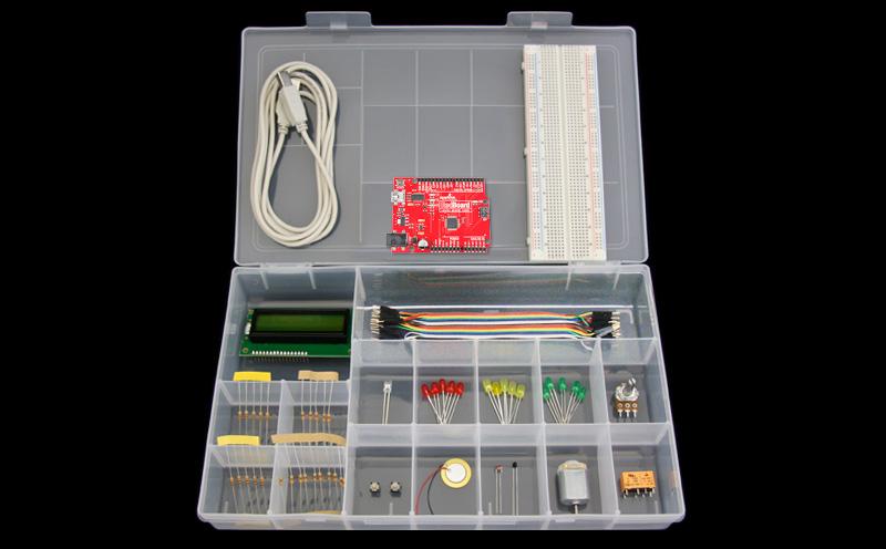 Kit Iniciante com RedBoard - Detalhe dos produtos (Arduino Compatível)