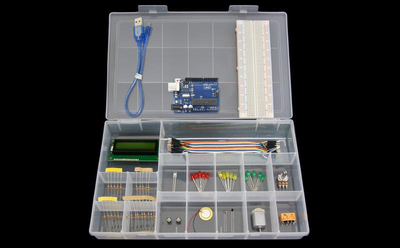 Kit Iniciante com Placa Uno R3 - Iniciante - Detalhe dos produtos (Arduino Compatível)