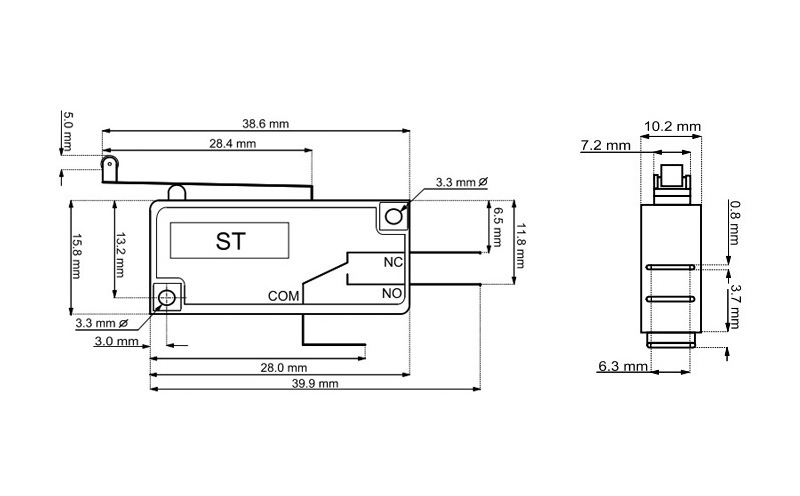 Microswitch 5A com rodízio e alavanca