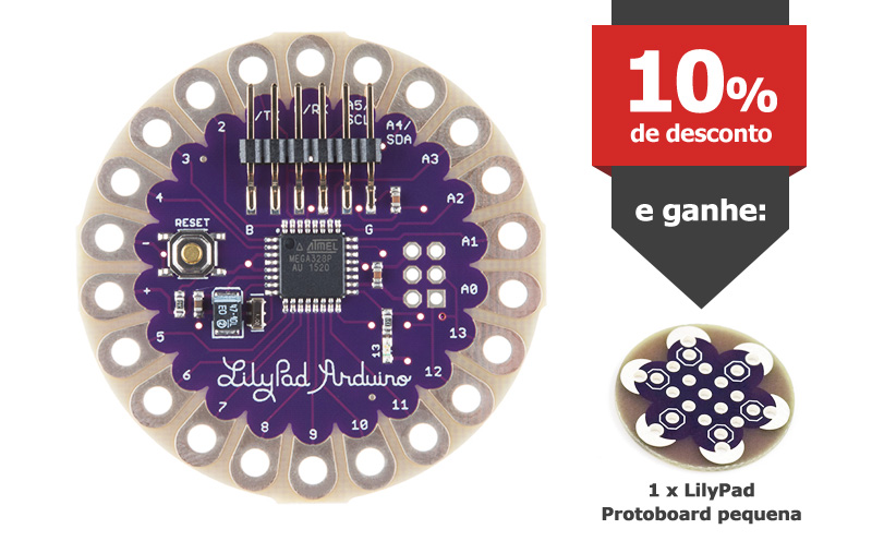 LilyPad Arduino + LilyPad Protoboard pequena